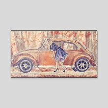 Autumn Girl - Acrylic by Qas Hussain