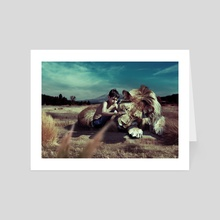 The Lion and Kid - Art Card by tiljo joseph