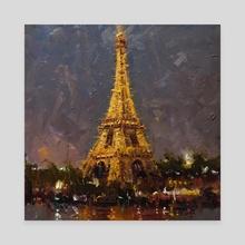 Eiffel Tower at night - Canvas by Mostafa Keyhani