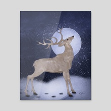 Stag By Moonlight - Acrylic by Katherine Hahn