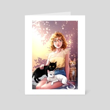 Nina and her cats - Art Card by Katherine Lobo