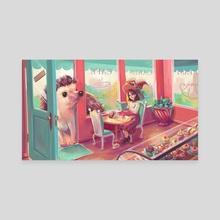 Hedgehog Coffee Hour - Canvas by Pamela Yeung Ribeiro