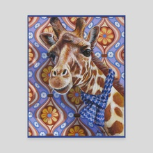 Cozy Giraffe - Canvas by Annette Hassell