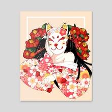 Kitsune flower - Acrylic by gabriela Aguilar