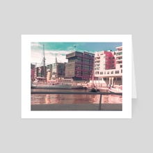 Hamburg Harbour City - Art Card by Gerald Draws