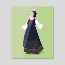 Skjælingsdrakt from Upper Numedal - Acrylic by Birgitte Johnsen