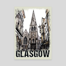 Glasgow City Streets Vintage Travel Poster Series grunge edition 07 - Canvas by Olivera Pavlovic Naumovski