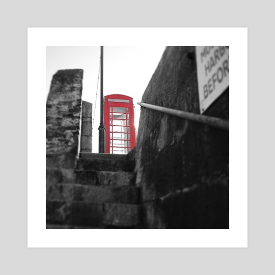 Low Angle Retro Red Telephone Box by Bethany Ann Funnell