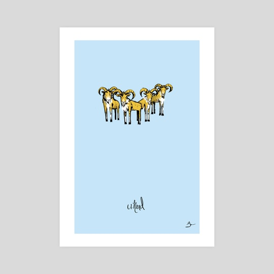 U) Herd of Urials by Mal Jones