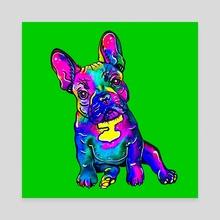 Colorful French Bulldog on Green - Canvas by Zaira Dzhaubaeva