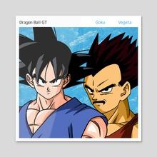 """Goku & Vegeta """"Greatest Hits Of Hall & Oates"""" - Acrylic by Joey Sifuentes"""