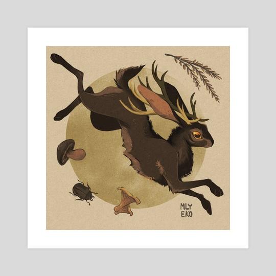 leaping jackalope by mlyeko