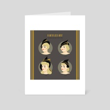 Huffle Hairstyles and Witch Hats throughout decades - Art Card by Alice Negri