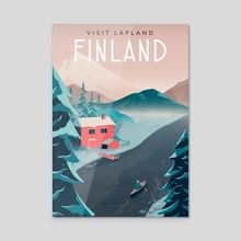 Finland travel poster - Acrylic by Anna Kuptsova