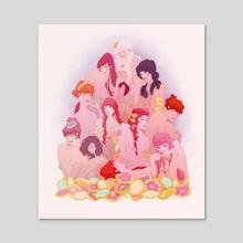 Donut ladies - Acrylic by Drude Mangaard