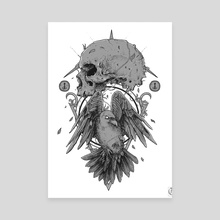 Crow & Skull - Artwork I sold to Abated Mass of Flesh Edition I  - Canvas by Kacper  Gilka