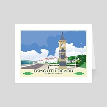 Exmouth Victorian Clocktower Vintage 50's poster - Art Card by MIKE TURTON