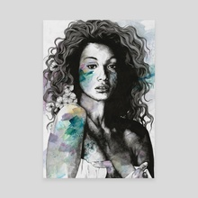 Start With a Strong and Persistent Desire | sexy black woman portrait - Canvas by Marco Paludet