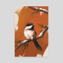 Winter Chickadee - Canvas by Zara Alfonso