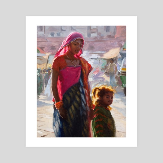 Mother with Child - Jodhpur India by Pavel Sokov