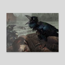 MTG - Carrion Crow - Acrylic by Aaron Miller