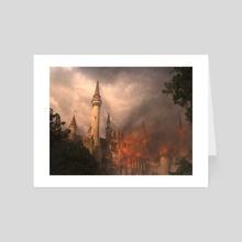 Burning castle - Art Card by Philipp Dobrusin