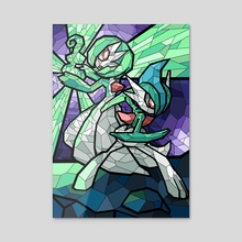 Stained Glass - Gardevoir and Gallade - Acrylic by Nicole Castanheira