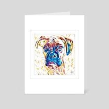 Inquisitive Boxer Dog - Art Card by John Thompson