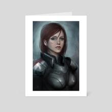 Mass Effect FemShep - Art Card by Lily Knibbs