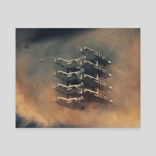 Gas Station - Canvas by Karl Poyzer