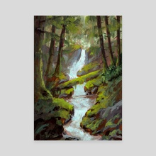Mossy Forest Stream in Gouache - Canvas by Ed  Pulella