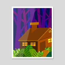 Cabin in the Woods - Acrylic by Carlo Tipay