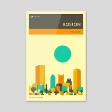 BOSTON TRAVEL POSTER - Acrylic by Jazzberry Blue