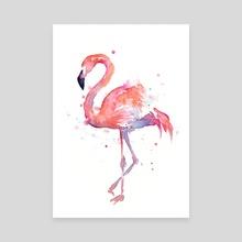 Flamingo Watercolor - Canvas by Olga Shvartsur