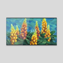 Yellow flower tower - Acrylic by Alexander Steenhorst