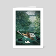 Guest on the lake - Art Card by Michal Eyal