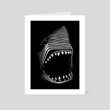 Great shark white tribal - Art Card by Alberto Perez