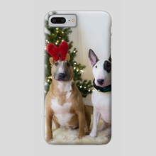 Christmas BullTerriers - Phone Case by Kimberly AF