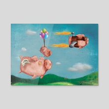 Pigs might fly - Acrylic by Si Barnes