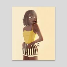 Stripe girl - Acrylic by Laura Dumitriu