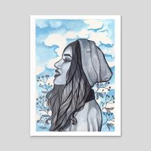 Head in Clouds - Acrylic by Egle Markauskaite
