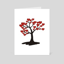 Tree with red hearts - Art Card by Dmytro Rybin
