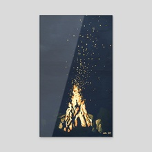 Bonfire  - Acrylic by Ashley Hills