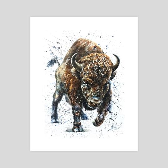 Buffalo watercolor by Konstantin Kalinin