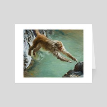 The Leap - Monkey from Rishikesh India - Art Card by Pavel Sokov