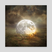fallen moon - Canvas by Even Liu