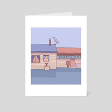a house in the middle of the highway - Art Card by Sofía Zelaya