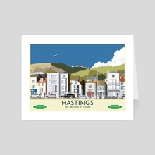 Hastings Vintage 50's Style railway poster - Art Card by MIKE TURTON