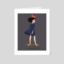 Kiki on a Skateboard - Art Card by Melanie Yu