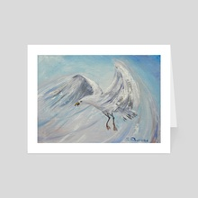 Free flight of the white gull. - Art Card by Elena Reutova
